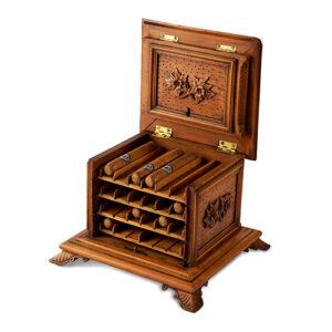 Charming 19th Century Austrian Fruitwood Cigar Dispenser