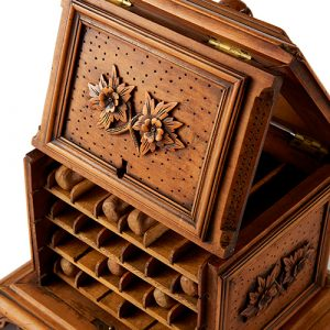 Charming 19th Century Austrian Fruitwood Cigar Dispenser