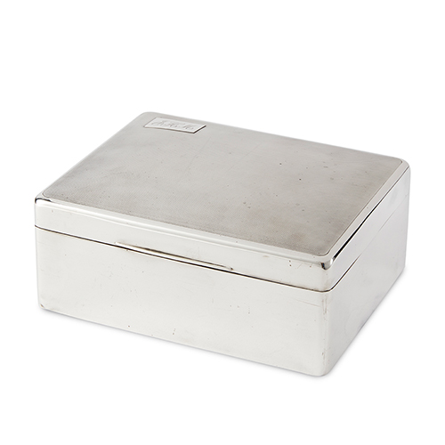 Fine Silver Cigar Box Lined in Cedarwood with a Movable Divider