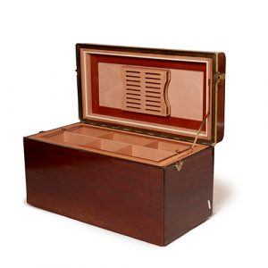 Long Wooden Box with Gold Trim