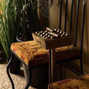 Sautter - Crate Bronze Ashtray on Stand