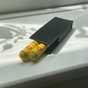 Black Dunhill Cigar Case with 2 x Montecristo Petit Tubos