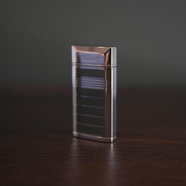 Caseti of Paris - Elegant Chrome & Enamel Stripped Single Torch (Black)