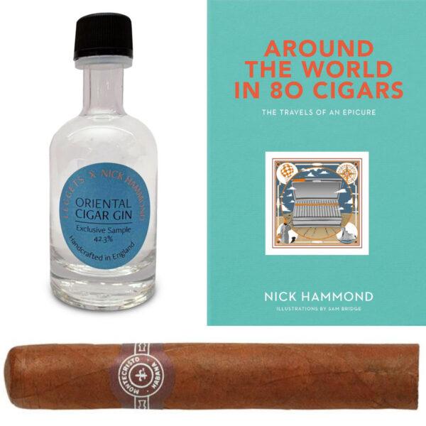 1 x Montecristo No.5 (Single cigar) & Around The World in 80 Cigars by Nick Hammond & LEGGETS X Nick Hammond Oriental Cigar Gin 50ml