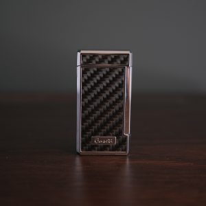 Caseti of Paris - Chequered Twin Torch Cigar Lighter (Black Carbon)